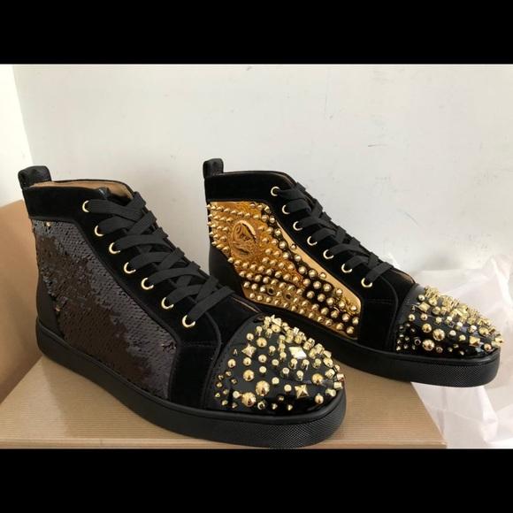 online store 98d7e a1365 Black & Gold christian louboutin sneakers